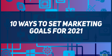 A picture containing text saying 10 ways to set marketing goals for 2021, in the bacdrop social media icons