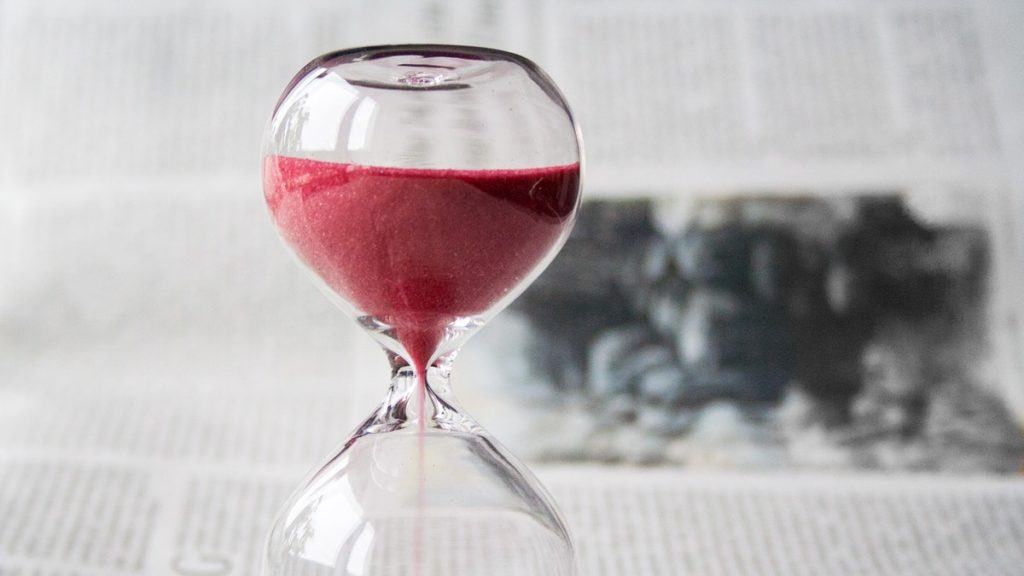 An Hourglass of red sand