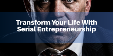 A picture containing text - transform your life with serial entrepreneurship, wearing, head covering, close