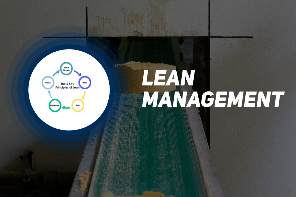 A picture containing a production line and text saying lean management.