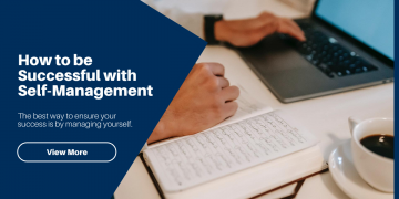 An image containing a person with a laptop self with a text saying self-management