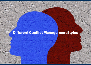 A close-up of a two person's shadow. With a text different conflict management styles