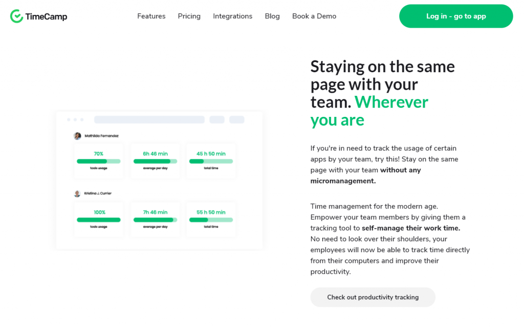 image of the home page of Timecamp Free Time Management Tools