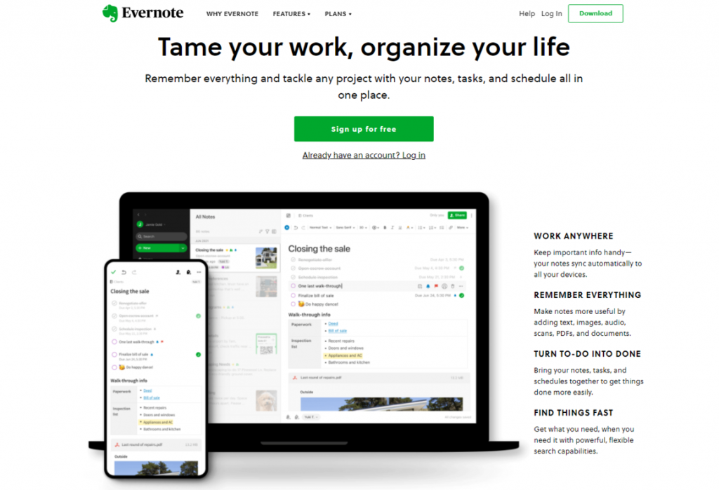 image of the home page of Evernote - Free Time Management Tools